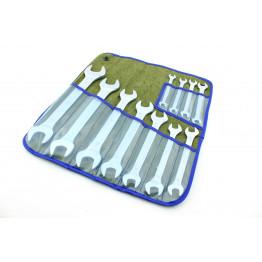 Наборы рожковых ключей 11 едениц в сумке. Размеры ключей: 8×9, 8×10, 9×11, 10×12, 12×13, 13×14, 14×17, 17×19, 19×22, 22×24, 24×27.